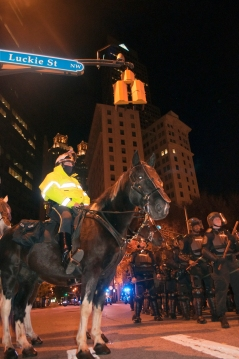 Mounted police and riot squad