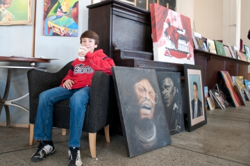 Julian surrounded by art