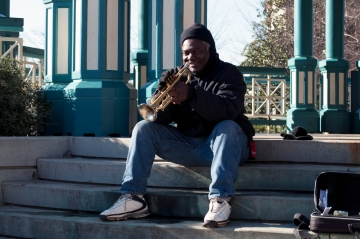 Trumpet player at the Decatur Ghost Tower