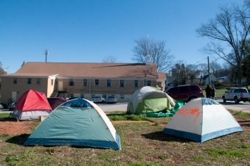 Occupiers Tents at Higher Ground