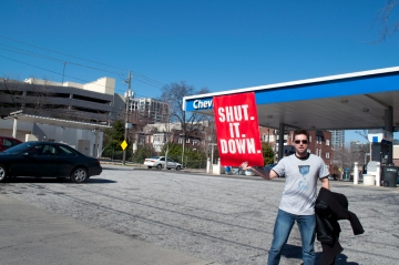 Daniel Hanley from Occupy Atlanta shutting down Chevron