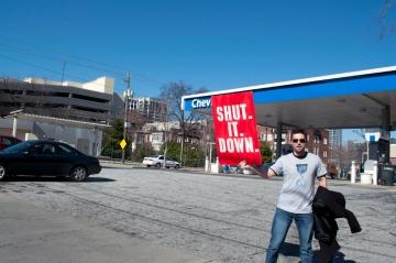 Daniel Hanley from Occupy Atlanta shutting down Chevron