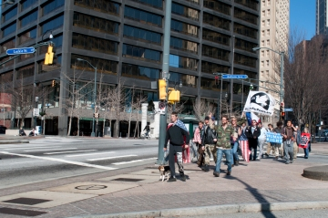 Walkupiers about to enter Woodruff Park