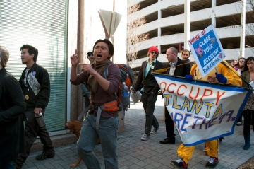 Bo Han marching with Occupy Atlanta