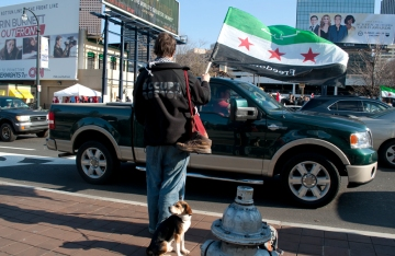 Walkupier Lyndon from Boston supporting Syrian protesters