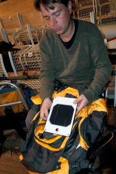 solar charger on Darrin Annussek's backpack