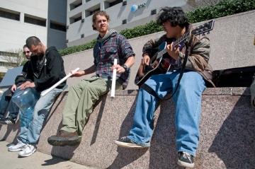 Improvised concert at AT&T encampment