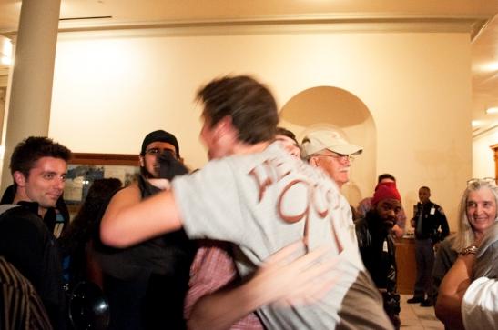 Scott Brown hugging Justin SoulPatch after victory