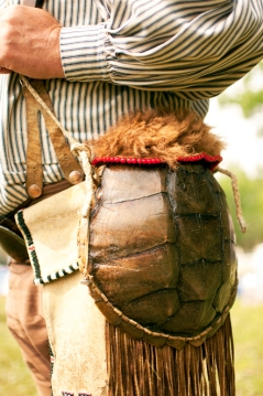 Purse made of turtle shell and deer skin
